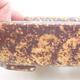 Keramische Bonsai-Schale 15 x 11,5 x 4 cm, Farbe braun-gelb - 2/3