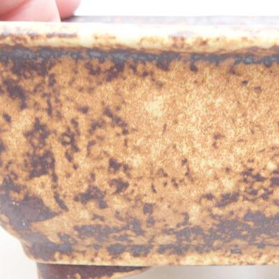 Keramische Bonsai-Schale 13 x 10 x 5 cm, Farbe braun-gelb - 2