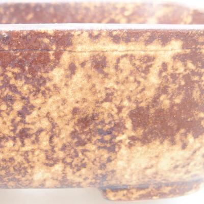 Keramische Bonsai-Schale 13 x 10 x 5,5 cm, Farbe braun-gelb - 2