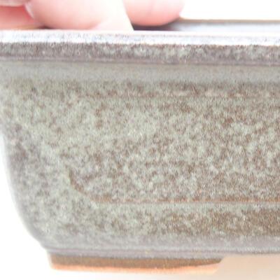 Keramische Bonsai-Schale 16,5 x 11 x 5 cm, Farbe braun-grün - 2