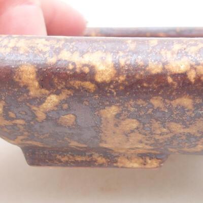 Keramische Bonsai-Schale 16 x 12,5 x 3 cm, Farbe braun-gelb - 2