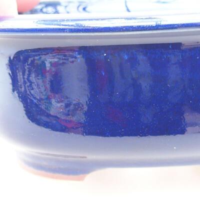 Keramische Bonsai-Schale 14 x 11 x 5 cm, Farbe blau - 2