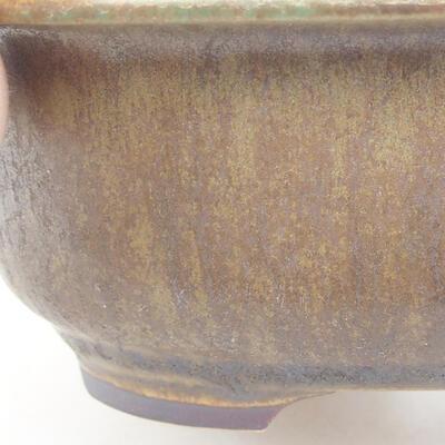 Keramische Bonsai-Schale 14 x 11 x 5 cm, Farbe braun-grün - 2