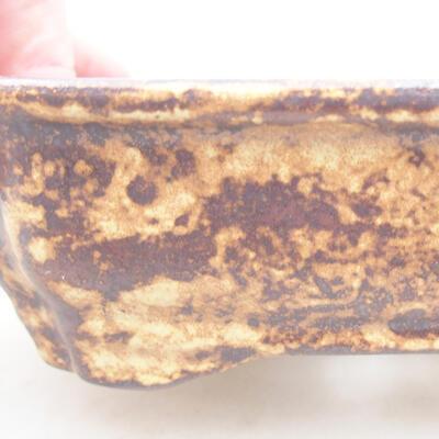 Keramische Bonsai-Schale 15 x 12 x 4 cm, Farbe braun-gelb - 2