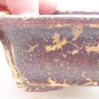 Keramische Bonsai-Schale 12 x 9,5 x 4 cm, Farbe braun-gelb - 2