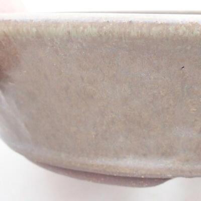 Keramische Bonsai-Schale 18 x 18 x 5 cm, Farbe braun-grün - 2