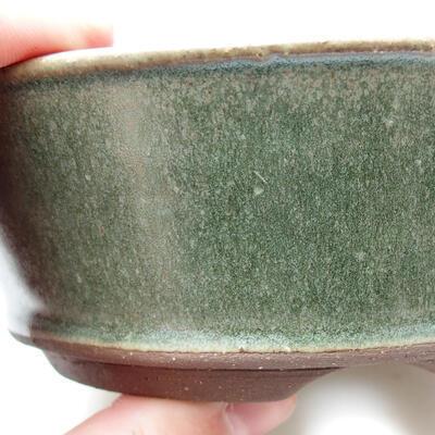 Bonsaischale aus Keramik 14 x 14 x 5 cm, Farbe grün - 2
