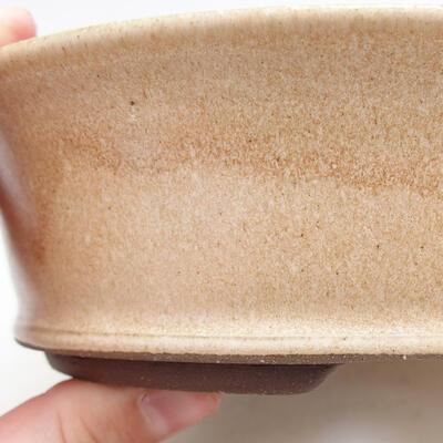 Bonsaischale aus Keramik 17 x 17 x 5 cm, Farbe beige - 2
