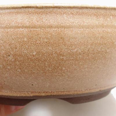 Bonsaischale aus Keramik 14,5 x 14,5 x 6 cm, Farbe beige - 2
