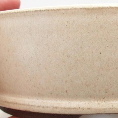 Bonsaischale aus Keramik 15 x 15 x 4,5 cm, Farbe beige - 2