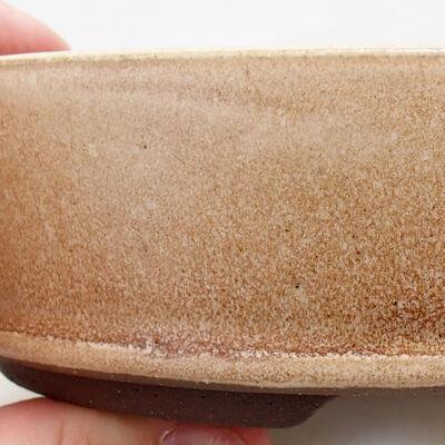 Bonsaischale aus Keramik 14,5 x 14,5 x 4,5 cm, Farbe beige - 2