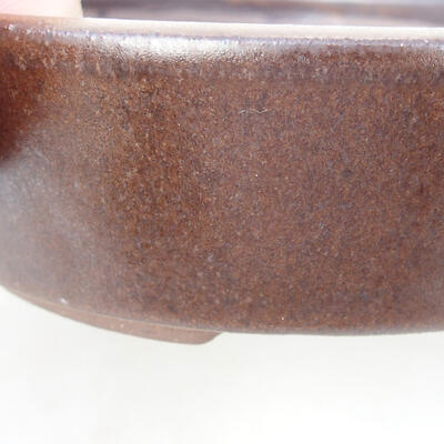 Bonsaischale aus Keramik 14,5 x 14,5 x 4,5 cm, Farbe braun - 2