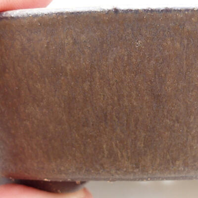 Bonsaischale aus Keramik 16,5 x 16,5 x 3,5 cm, Farbe braun - 2