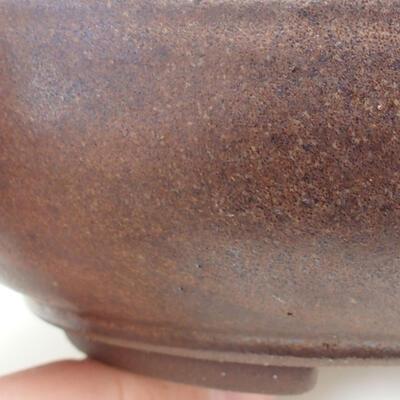 Bonsaischale aus Keramik 15,5 x 15,5 x 4,5 cm, Farbe braun - 2