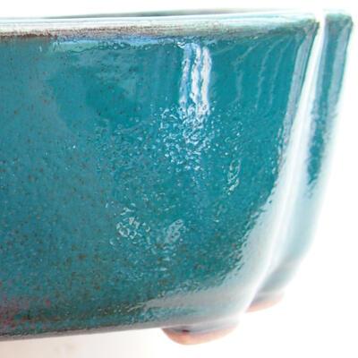 Bonsaischale aus Keramik 17,5 x 13,5 x 4,5 cm, Farbe grün - 2