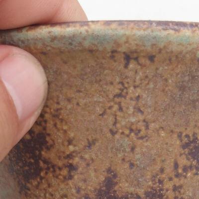 Bonsaischale aus Keramik 11 x 11 x 7 cm, Farbe braun-grün - 2