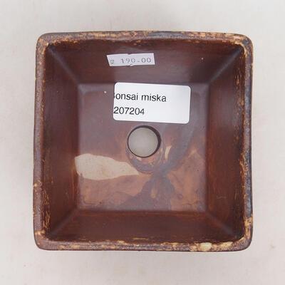Bonsaischale aus Keramik 9,5 x 9,5 x 5,5 cm, Farbe braun-gelb - 2