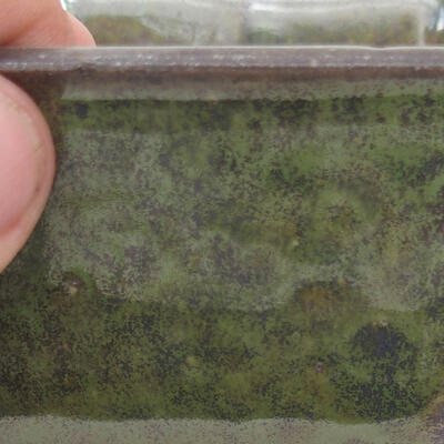 Bonsaischale aus Keramik 10 x 10 x 6 cm, Farbe grau-grün - 2