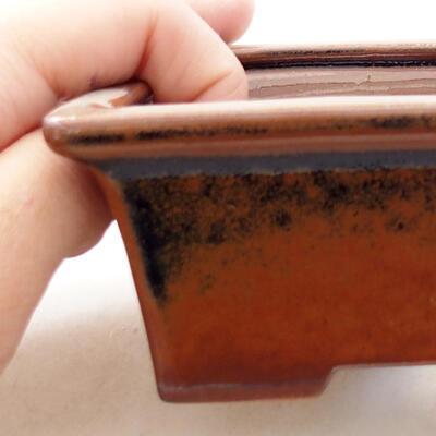 Bonsaischale aus Keramik 11 x 8,5 x 4,5 cm, braune Farbe - 2
