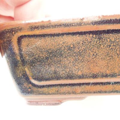 Bonsaischale aus Keramik 12,5 x 9 x 4,5 cm, Farbe braun-schwarz - 2