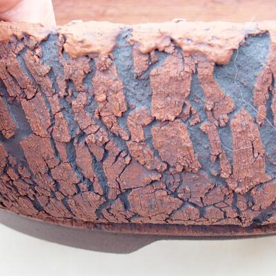 Bonsaischale aus Keramik 20 x 20 x 6 cm, Farbe rissig - 2