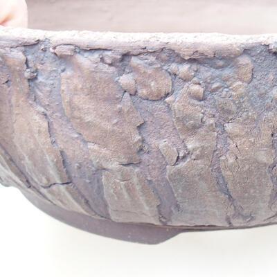 Bonsaischale aus Keramik 21,5 x 21,5 x 7 cm, Farbe rissig - 2