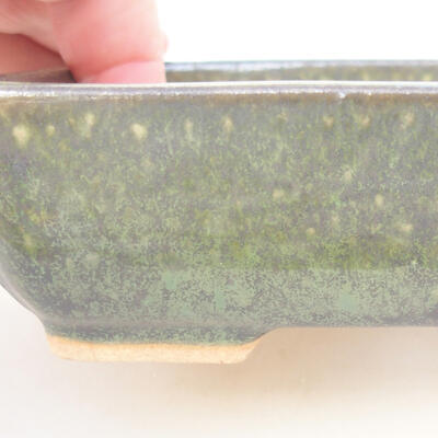 Keramische Bonsai-Schale 14 x 10,5 x 3,5 cm, Farbe grün - 2