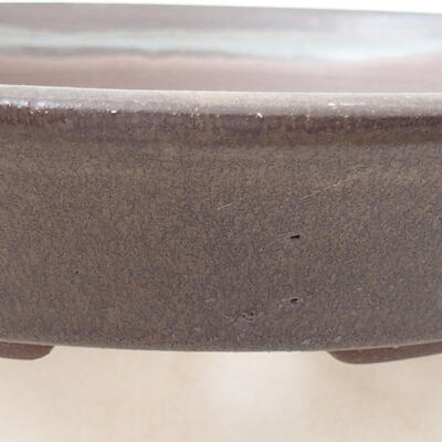 Bonsaischale aus Keramik 21 x 21 x 4 cm, Farbe braun - 2