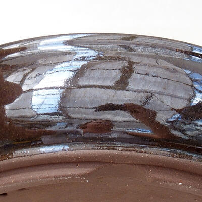 Bonsaischale aus Keramik 18 x 18 x 5 cm, Farbe braun - 2