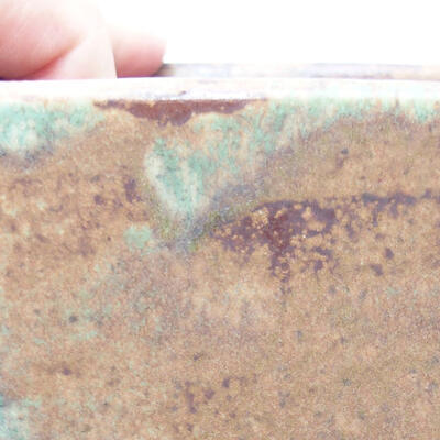 Bonsaischale aus Keramik 10,5 x 10,5 x 11,5 cm, Farbe braun-grün - 2