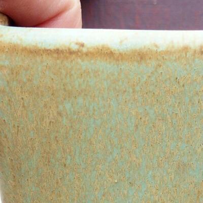 Bonsaischale aus Keramik 10 x 10 x 7 cm, Farbe grün - 2