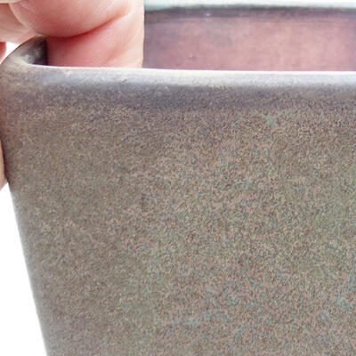 Bonsaischale aus Keramik 10 x 10 x 7 cm, Farbe braun-grau - 2
