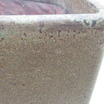 Bonsaischale aus Keramik 10 x 10 x 7 cm, Farbe grün-braun - 2