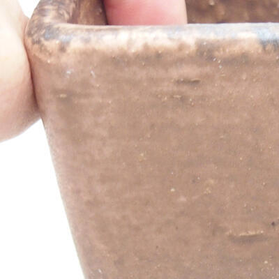 Bonsaischale aus Keramik 10 x 10 x 7 cm, Farbe braun-rosa - 2