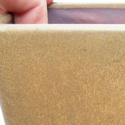 Bonsaischale aus Keramik 10 x 10 x 7 cm, Farbe braun - 2