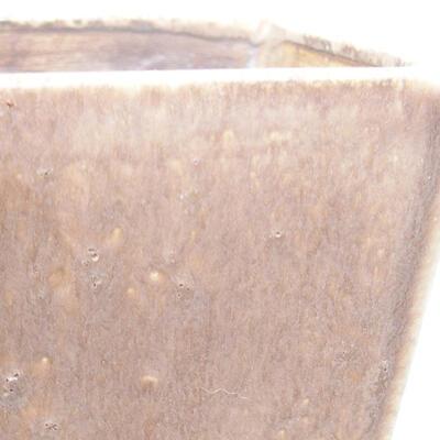 Bonsaischale aus Keramik 10 x 10 x 7,5 cm, braune Farbe - 2