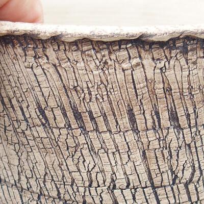 Bonsaischale aus Keramik 14 x 14 x 14,5 cm, Farbe rissig - 2