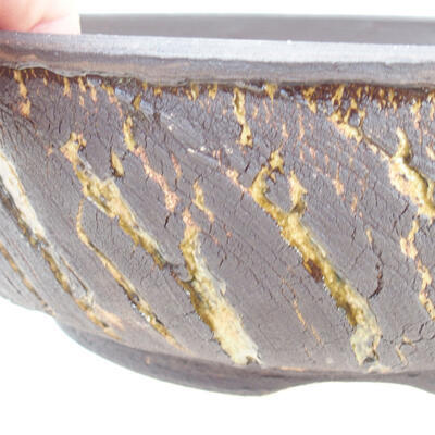 Bonsaischale aus Keramik 19 x 19 x 6 cm, Farbe Rissgelb - 2