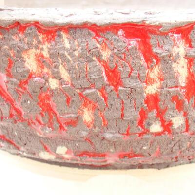 Bonsaischale aus Keramik 20,5 x 20,5 x 7 cm, rissige rote Farbe - 2
