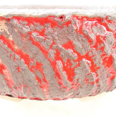 Bonsaischale aus Keramik 19 x 19 x 7 cm, Farbe Rissrot - 2