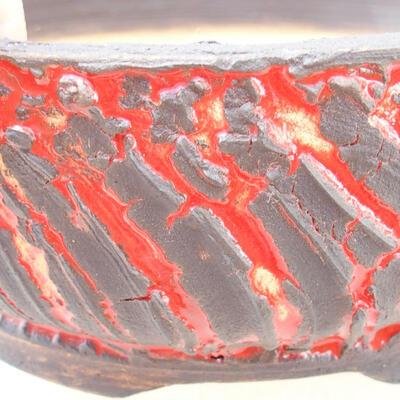 Bonsaischale aus Keramik 16,5 x 16,5 x 6,5 cm, rissige rote Farbe - 2