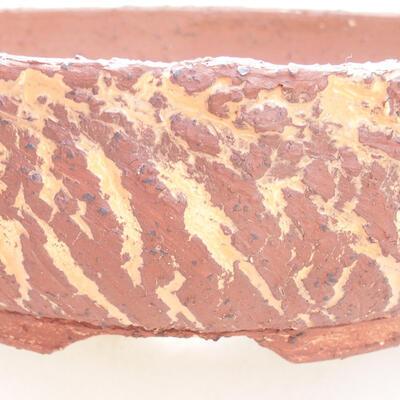 Bonsaischale aus Keramik 23,5 x 23,5 x 7 cm, Farbe grau-orange - 2