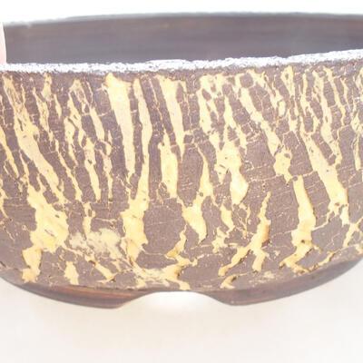 Bonsaischale aus Keramik 18 x 18 x 6 cm, Farbe grau-gelb - 2