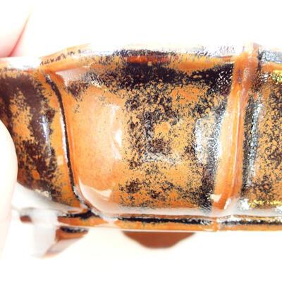 Bonsaischale aus Keramik 16 x 15,5 x 5 cm, Farbe braun-schwarz - 2