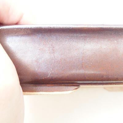 Bonsaischale aus Keramik 12,5 x 17,5 x 4 cm, metallfarben - 2