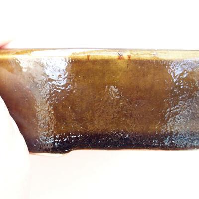 Bonsaischale aus Keramik 12 x 9 x 3,5 cm, Farbe schwarz-gelb - 2