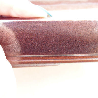Bonsaischale aus Keramik 16,5 x 11,5 x 3,5 cm, Farbe braun - 2