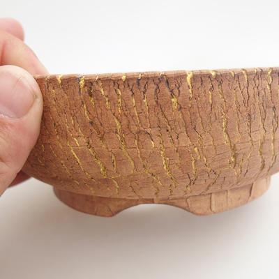 Keramik Bonsai Schüssel 16 x 16 x 5,5 cm, braun-gelbe Farbe - 2