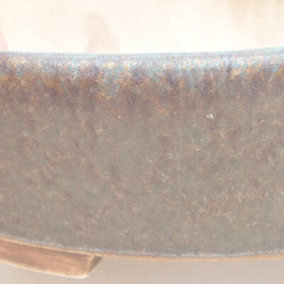 Keramische Bonsai-Schale 14 x 13 x 3,5 cm, braun-grüne Farbe - 2