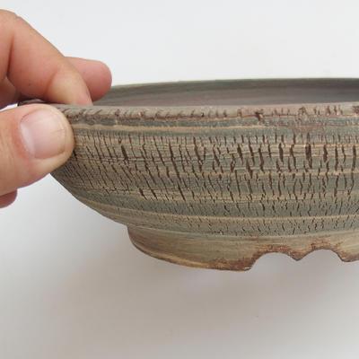 Keramik Bonsaischale 18,5 x 18,5 x 6 cm, Farbe grau - 2
